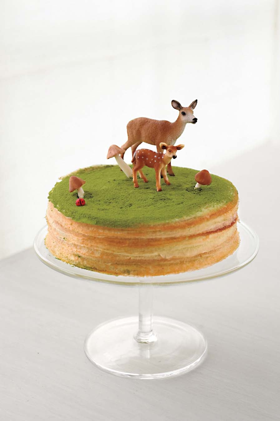 A Green Tea Mille Crepes Cake