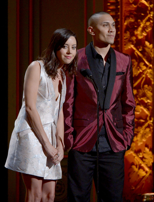 Aubrey Plaza spoke onstage at the ALMA Awards in LA.