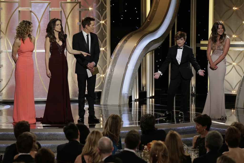 """""""In the name of gender equality, my adult son from a previous relationship, Randy."""" — Tina revealing Amy dressed up as her son, Mr. Golden Globes."""