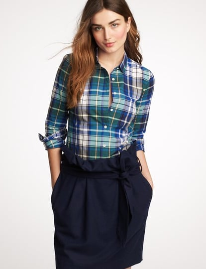 Sharpen up your look and wear this plaid shirt buttoned-up to the top with skinny jeans and a blazer.  J.Crew Plaid Boy Shirt ($72)
