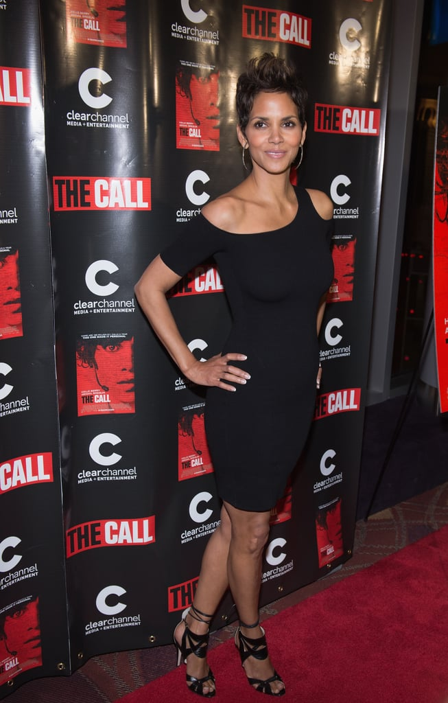 Halle Berry wore a tight black dress to the Chicago Premiere of The Call.