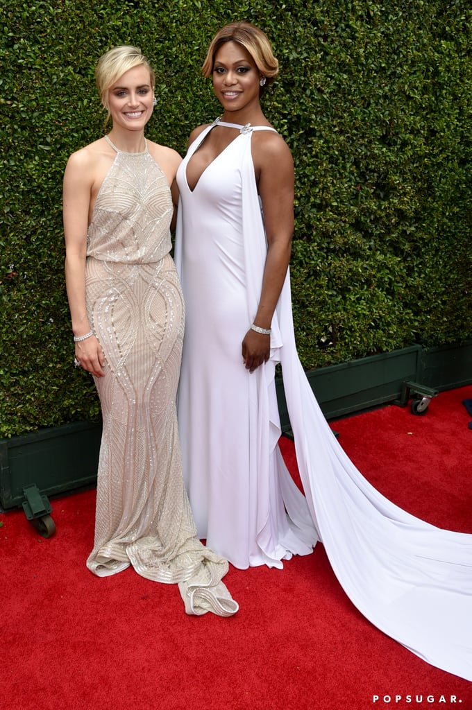 Orange Is the New Black's Taylor Schilling and Laverne Cox posed together on the red carpet.