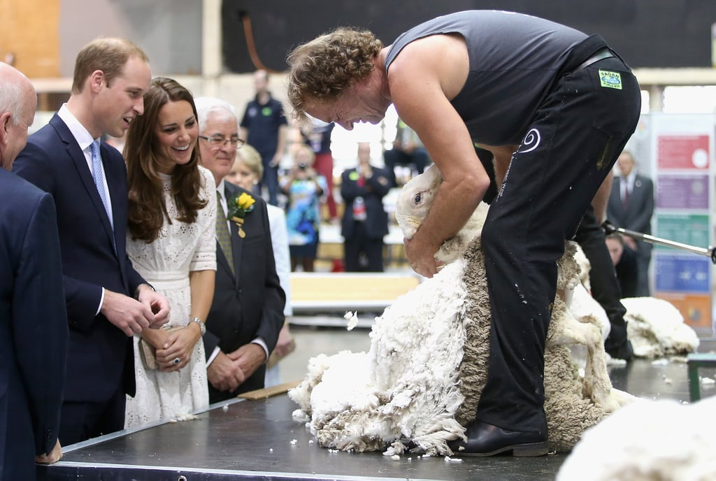 The couple were engrossed by a shearing demonstration at the Sydney Royal Easter Show in April 2014.