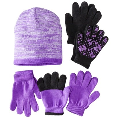 Get five looks for the price of one with this fun, playful Cherokee Girls' Bow Hat and Glove Set ($7).