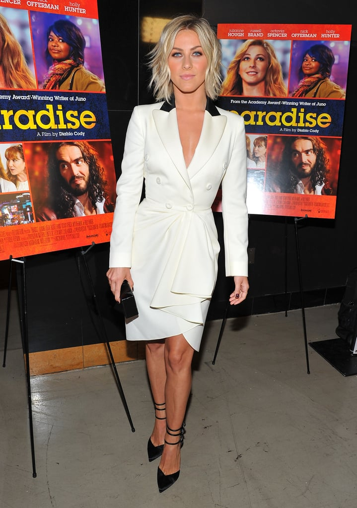 Julianne Hough channeled the 1980's at the premiere of Paradise in a dress that drew inspiration from a double-breasted suit jacket, complete with shoulder pads. We especially love the black accents to her look!
