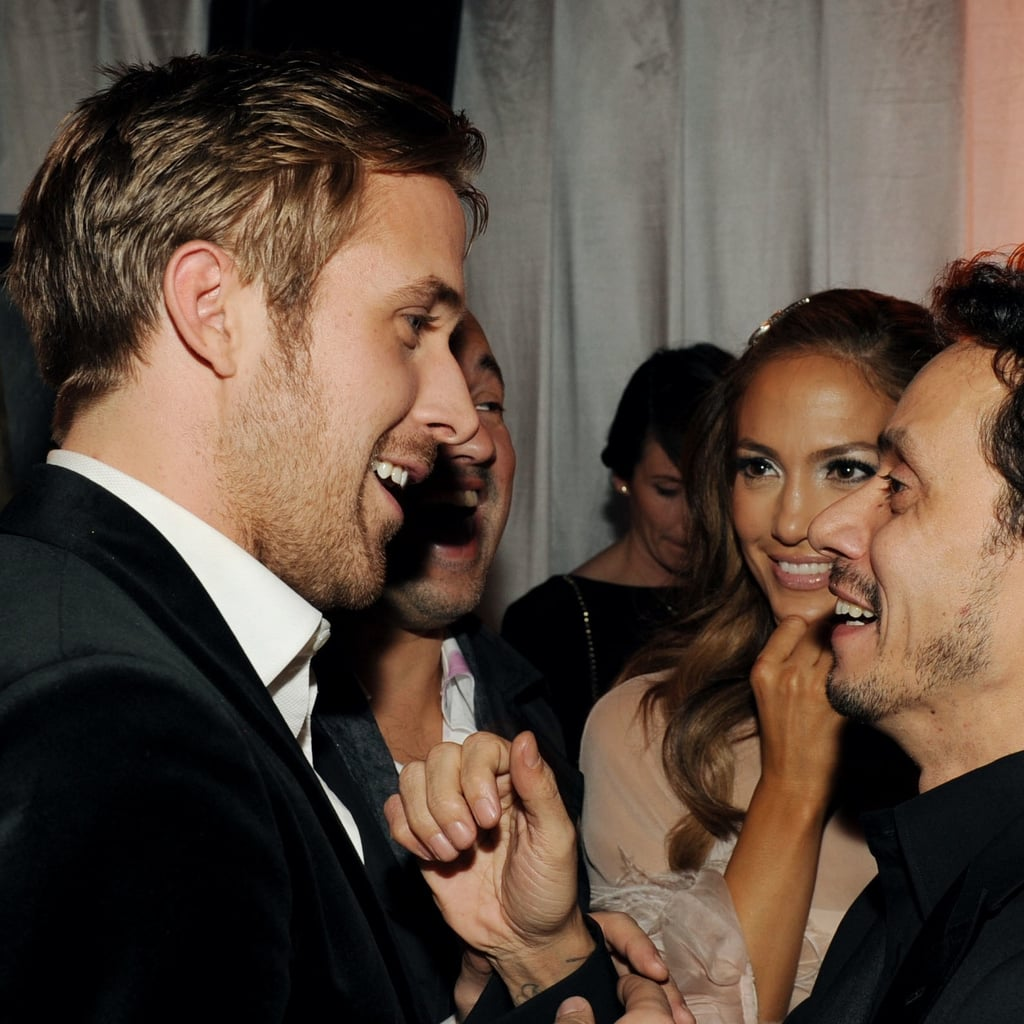 Ryan Gosling shared a laugh with Jennifer Lopez and Marc Anthony in 2011.
