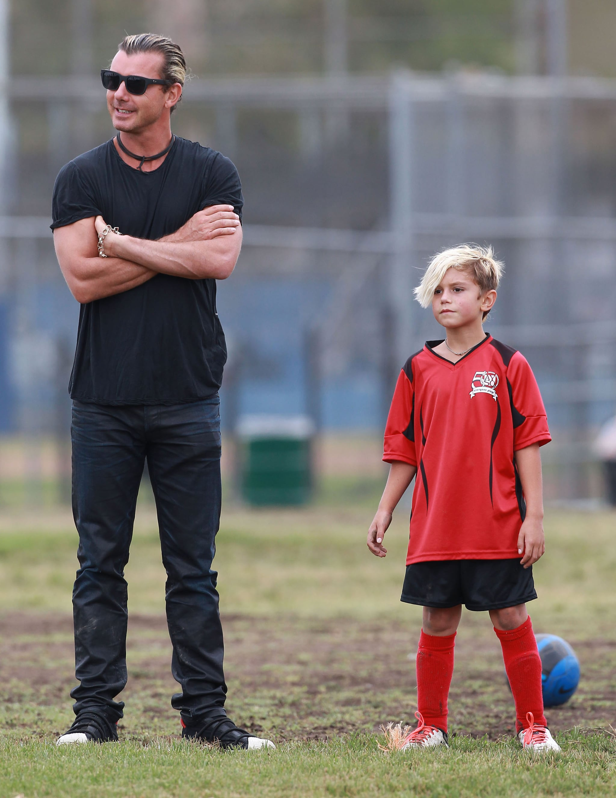 Gavin Rossdale watched his son's soccer game in LA.