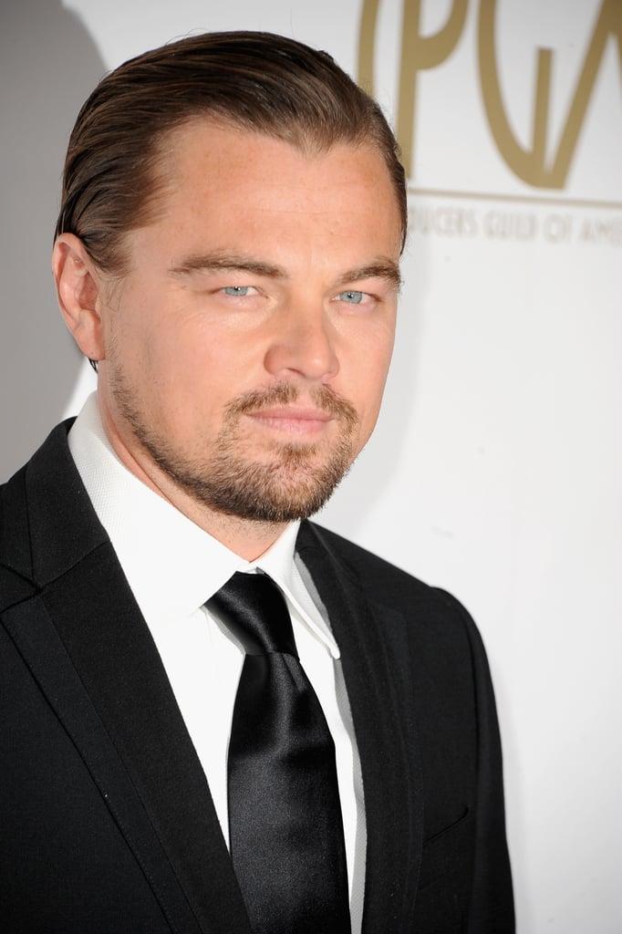 Leonardo DiCaprio wore a black tie.