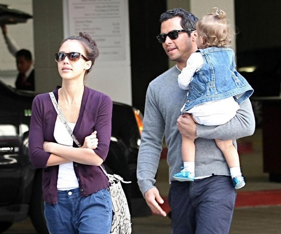 Slide Photo of Jessica Alba with Cash Warren and Honor at Mall in LA