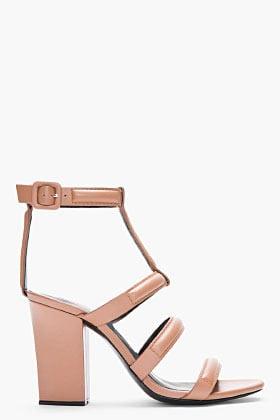 ALEXANDER WANG Tan Leather Lux Anjelika Heeled Sandals