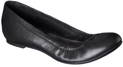 Women's Merona® Emma Genuine Leather Flat - Black