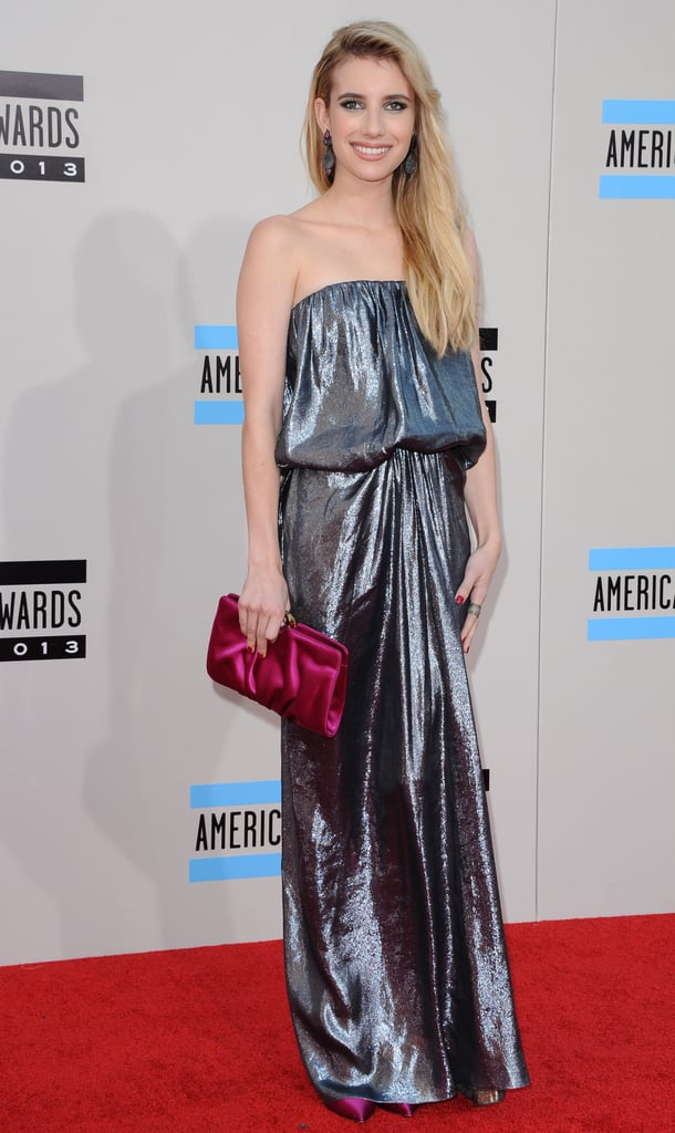 This metallic Lanvin creation shone bright on the American Music Awards red carpet in November 2013. We love how Emma added even more dazzle via a fuchsia Rodo clutch and coordinating pumps.