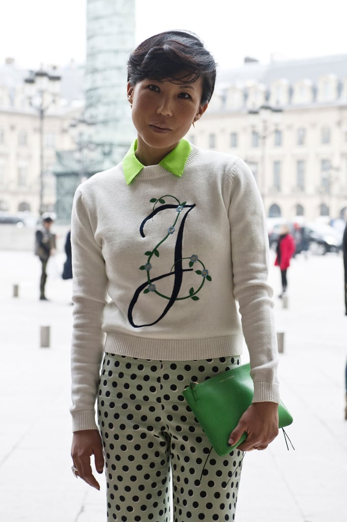 A boyish pixie looked gorgeous on this woman in Paris.