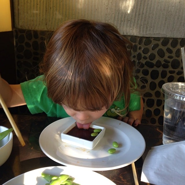 It looks like Selma Blair's little guy loves soy sauce! Source: Instagram user therealselmablair