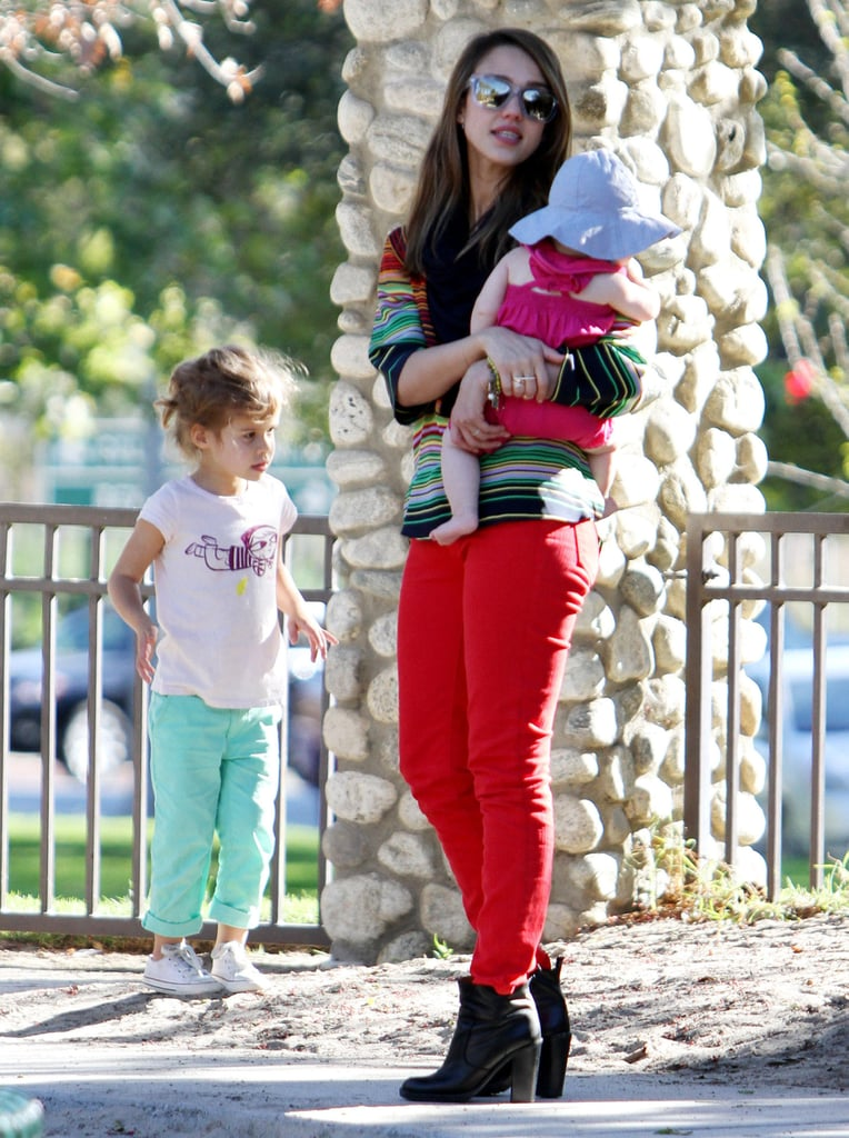 Jessica Alba and Her Girls Make an Extra Bright Park Appearance