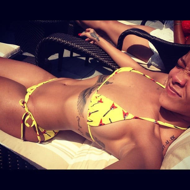 Rihanna snapped a bikini-clad selfie while lounging on a boat. Source: Instagram user badgalriri