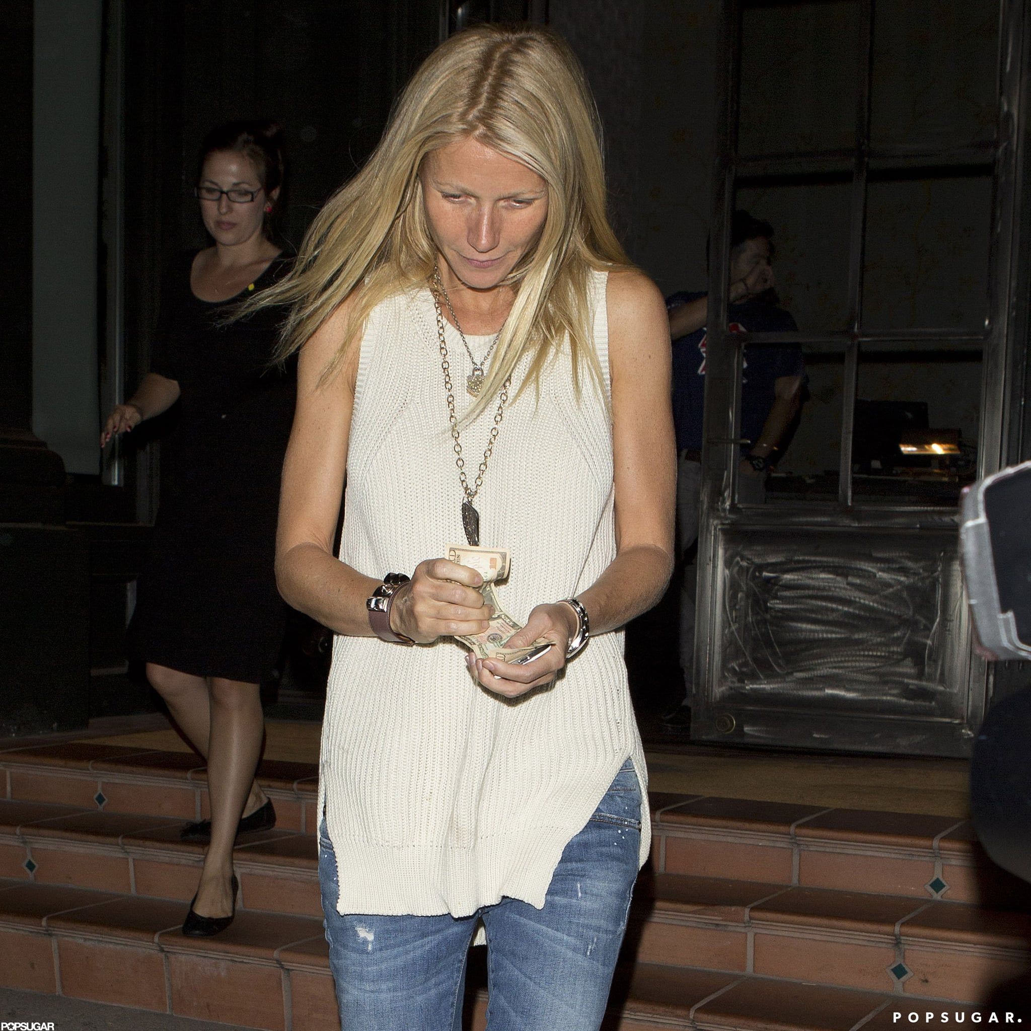 Gwyneth Paltrow had her hair down.