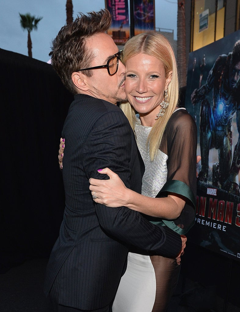 Robert Downey Jr landed a big kiss on co-star Gwyneth Paltrow's cheek at the premiere of Iron Man 3 in Los Angeles on April 24.