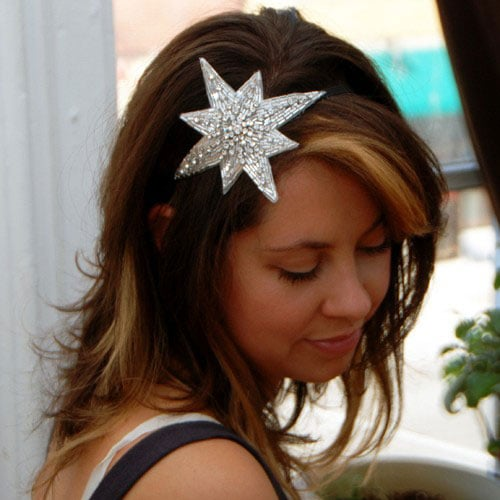 White Beaded and Crystal Star Elastic Fascinator ($35)