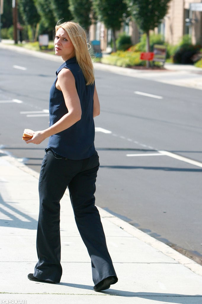 Claire Danes on the set of Homeland in North Carolina.