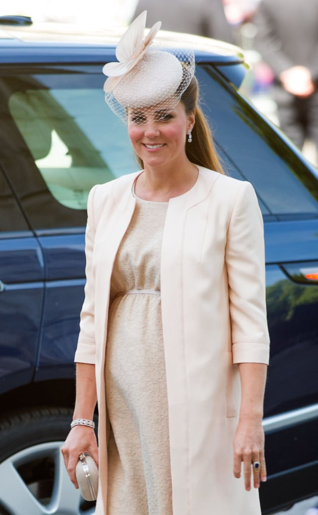 Kate Middleton attended Queen Elizabeth II's 60th coronation anniversary service at Westminster Abbey in London on June 4, 2013. She donned a Jenny Packham daisy-lace dress with silver gray ribbon detail and a peach silk shantung jacket by the same designer.