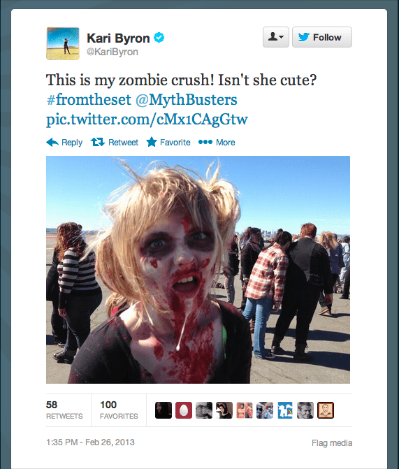 The MythBusters set has been zombified, and host Kari Byron's got a soft spot for one of the undead.