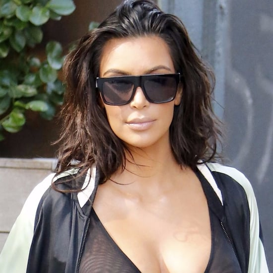Kim Kardashian Wearing See-Through Top in NYC August 2016