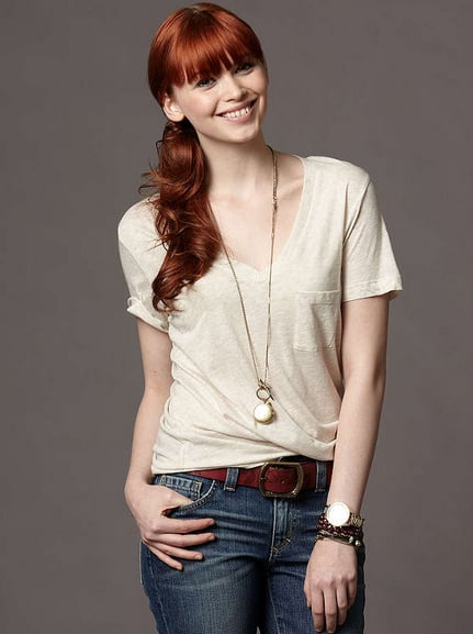 Thanks to a neutral oatmeal shade, a classic front pocket, and a flattering V-neck style, this drapey basic is a no-brainer.  Fossil Jordan V-Neck Tee ($24)