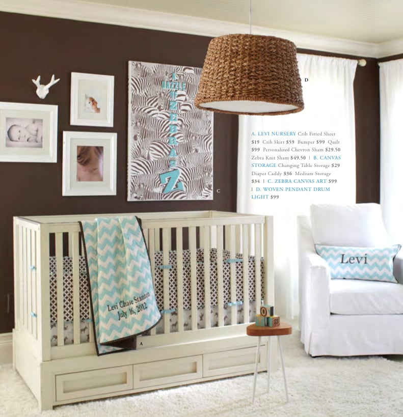 """Animal prints have been gathering momentum in nursery design for some time, but it's been rare to move beyond the leopard or cheetah print. The new """"Levi Nursery"""" (fitted sheet, $19, crib skirt, $59, and bumper, $99) brings the look to the nursery in a fun and subtle way."""