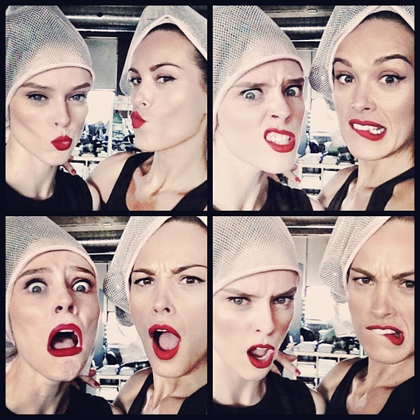 Coco Rocha and Petra Nemcova had fun making goofy faces together during a photo shoot. Source: Instagram user cocorocha