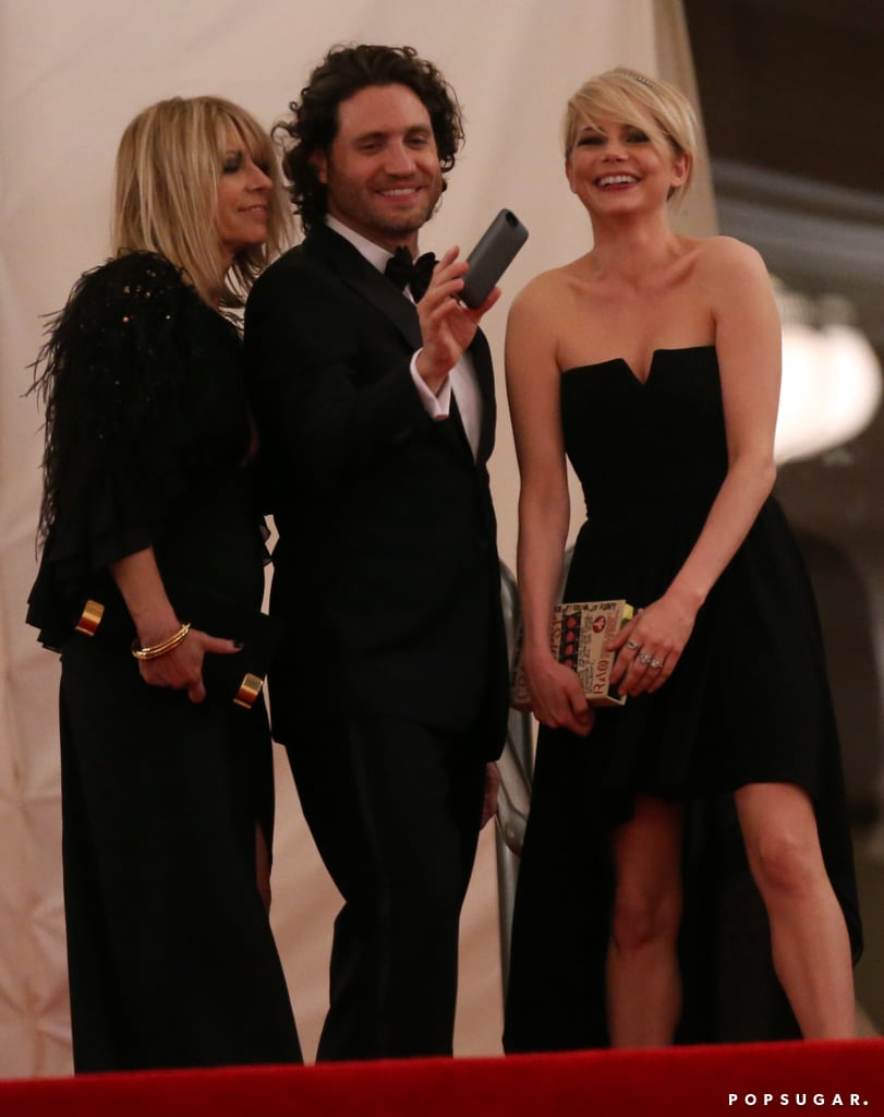 Michelle Williams left the Met Gala with Kim Gordon and Edgar Ramirez.
