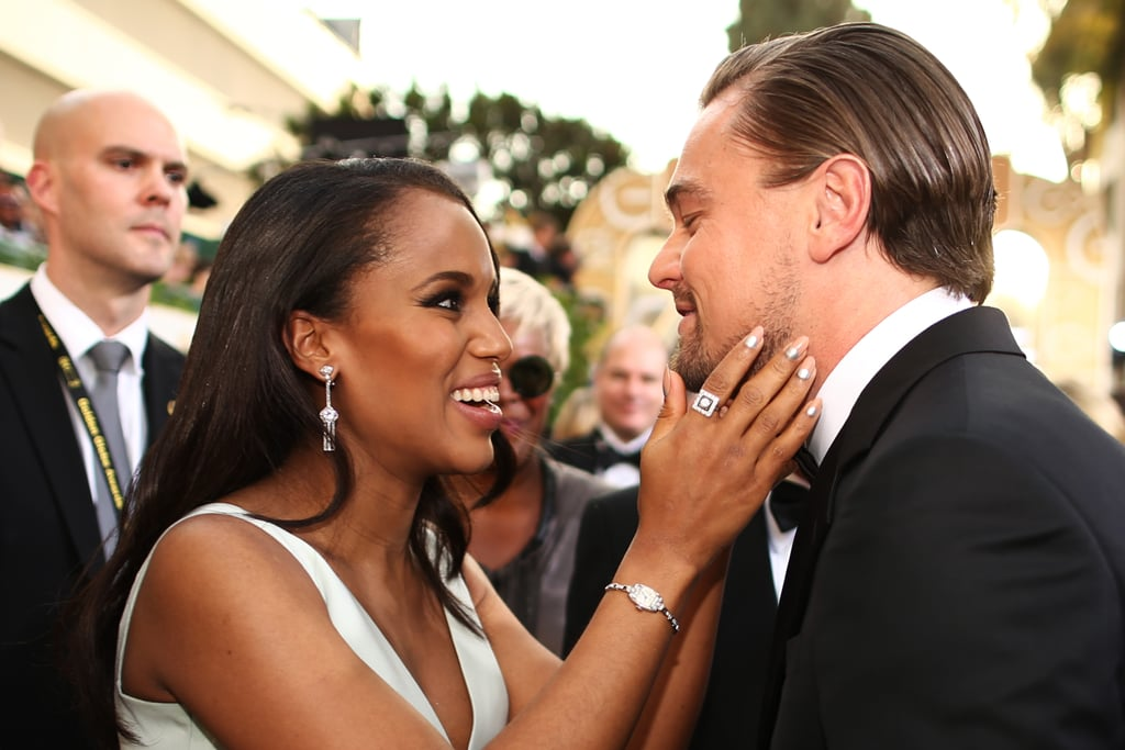Kerry Washington got up close and personal with Leonardo DiCaprio on the red carpet.