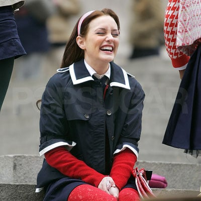 Leighton Meester on the Set of Gossip Girl