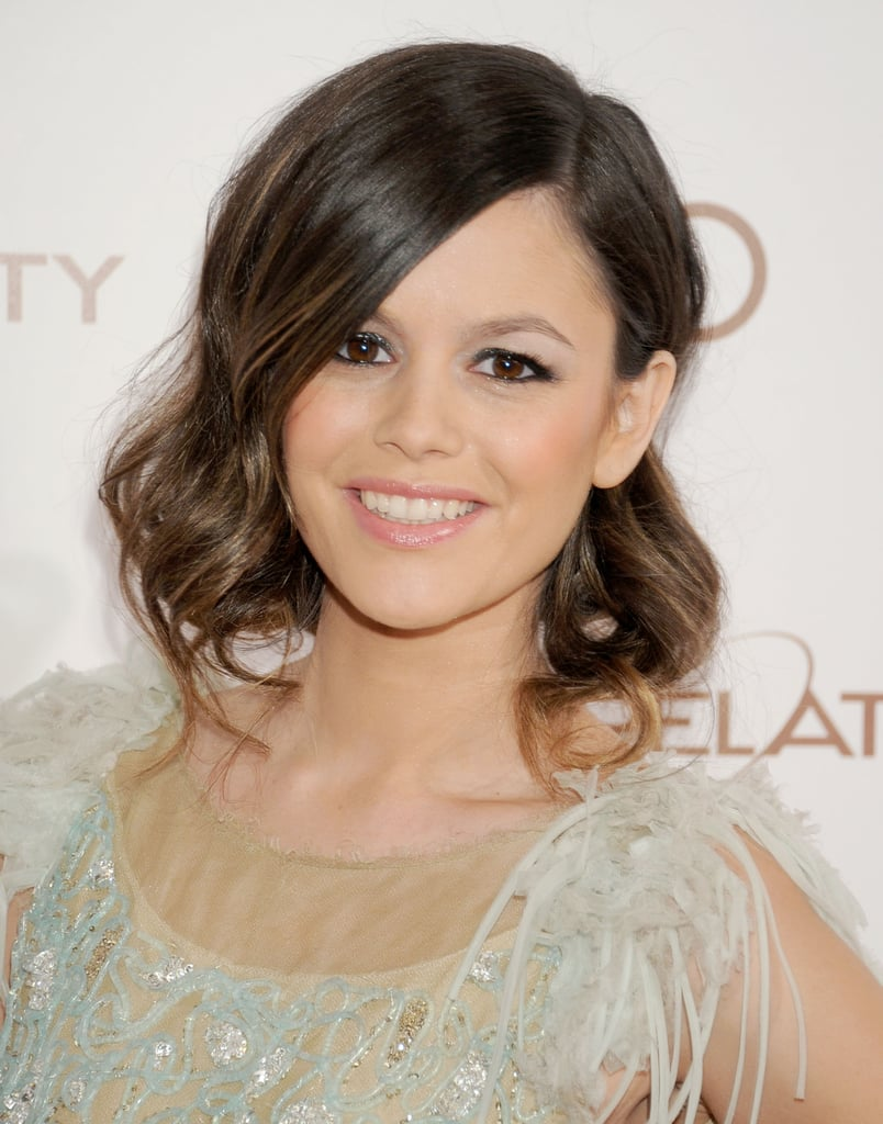 If you have ombré colour like Rachel Bilson's, a faux bob hides those lighter lengths and gives you a brand new look for one night only. Create big loose waves with a wide barrel tong or big rollers, starting from ear height only. Tuck one side behind your ear, and gather the lengths of your hair at the nape of the neck, using pins to keep it in place. If loose ends drop out at the front, don't worry, they just add to the soft look.