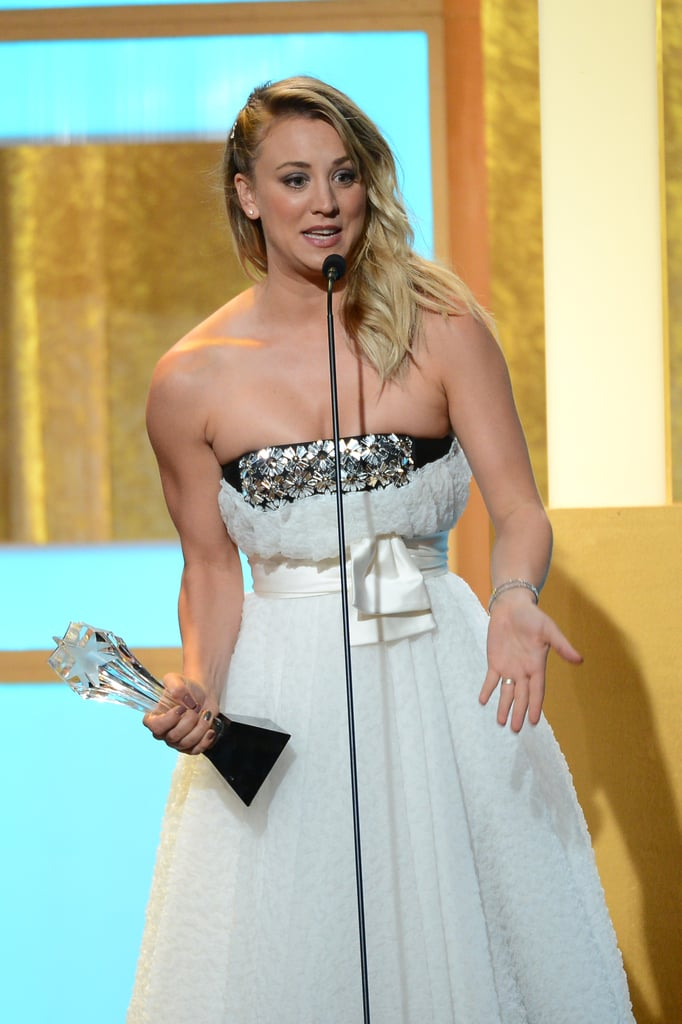 Kaley Cuoco was overcome with emotion during her speech.