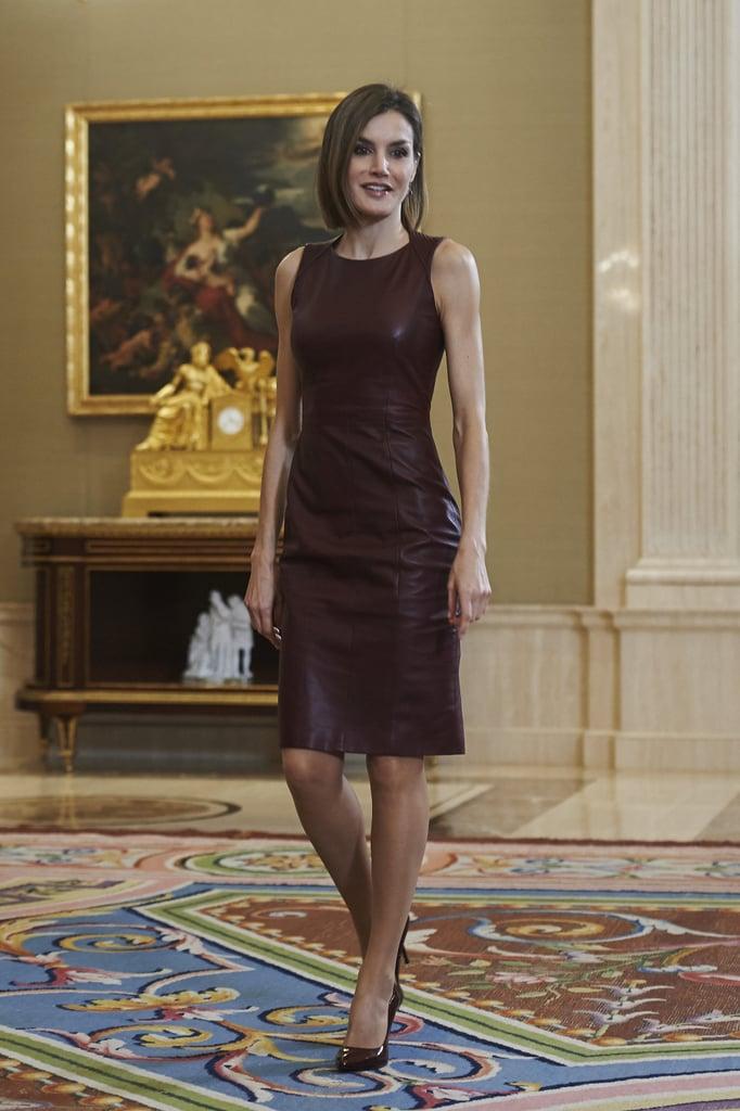 Queen Letizia wearing a Hugo Boss dress at La Zarzuela Palace in 2015.