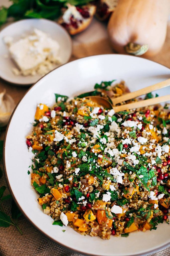 Warm Freekeh, Butternut Squash, and Pomegranate Salad