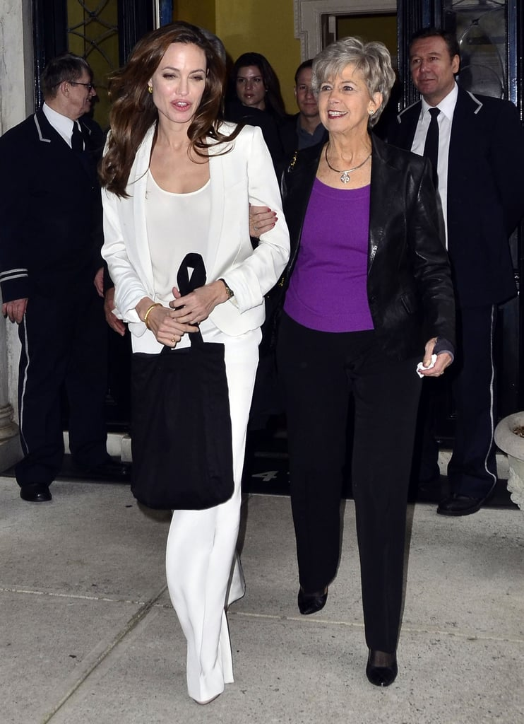Angelina Jolie wore a Winter white suit.