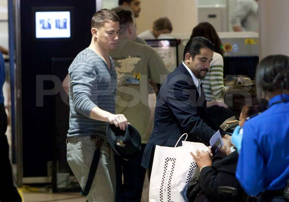Channing Tatum wore a striped long-sleeve t-shirt to the airport in Los Angeles.