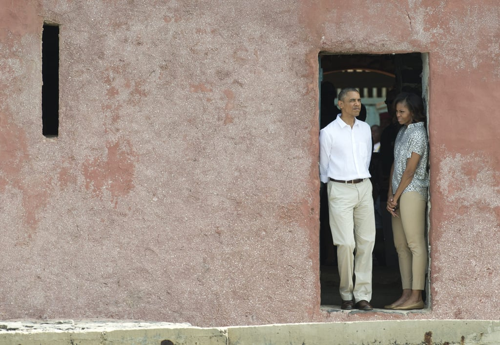 While touring the House of Slaves at Gorée Island in June 2013, President Obama and First Lady Michelle stood at the Door of No Return.
