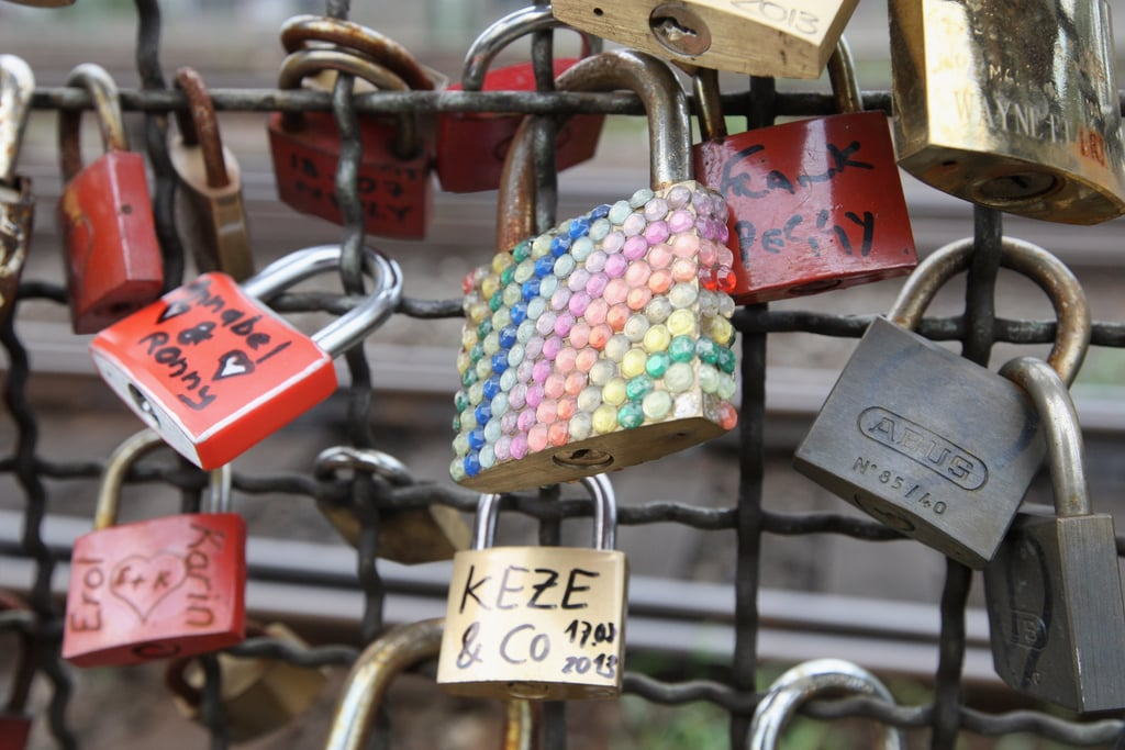 A bedazzled love lock hung from the Hohenzollern Bridge in Cologne, Germany.
