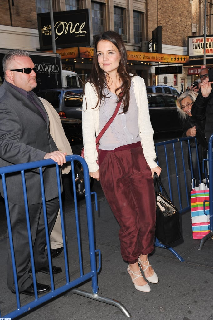 Katie Holmes wore a pair of Christian Louboutin heels.