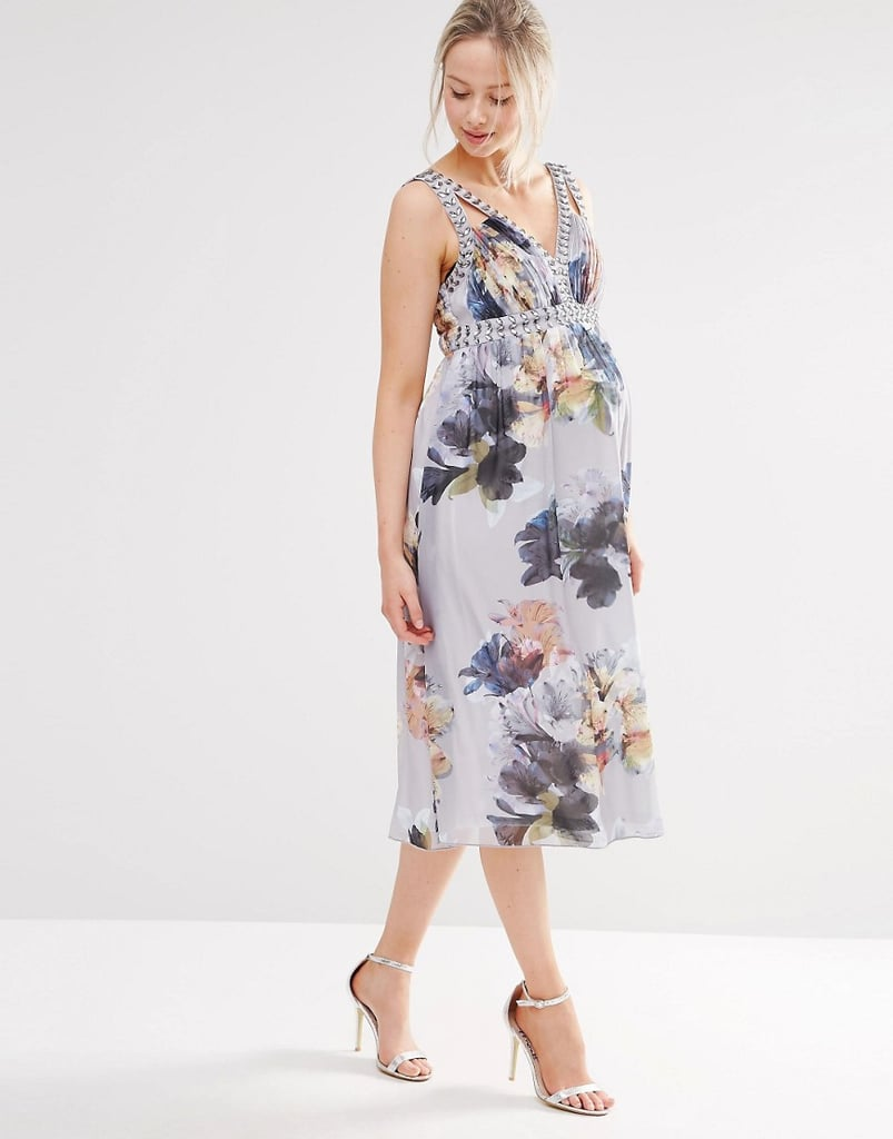 Little Mistress Maternity Floral Print Dress With Embellishment ($122)