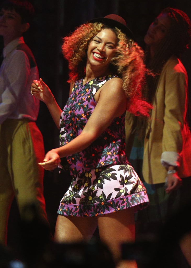 Beyoncé was all smiles while she danced on stage at Coachella in April 2014.