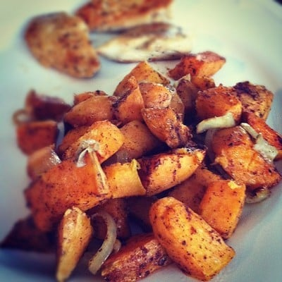 30-Minute Pan Grilled Chicken & Roasted Sweet Potatoes