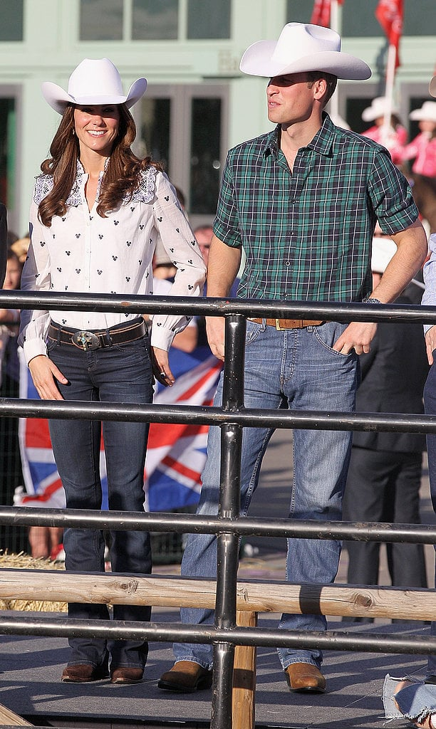 Looks like Kate changed tops midway through the Calgary Stampede Parade in July 2011! We're loving this blue-embroidered Alice by Temperley blouse, though.