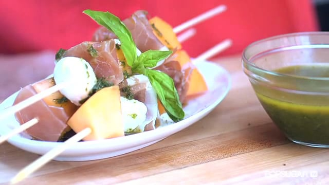 Melon, Mozzarella, and Serrano Ham Skewers
