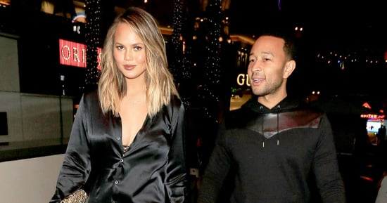 Chrissy Teigen Wears a Silk Shirt (and Not Much Else!) for Date Night With John Legend
