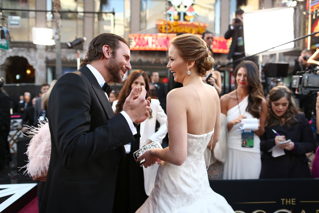 Silver Linings Playbook stars Bradley Cooper and Jennifer Lawrence compared notes on the carpet.