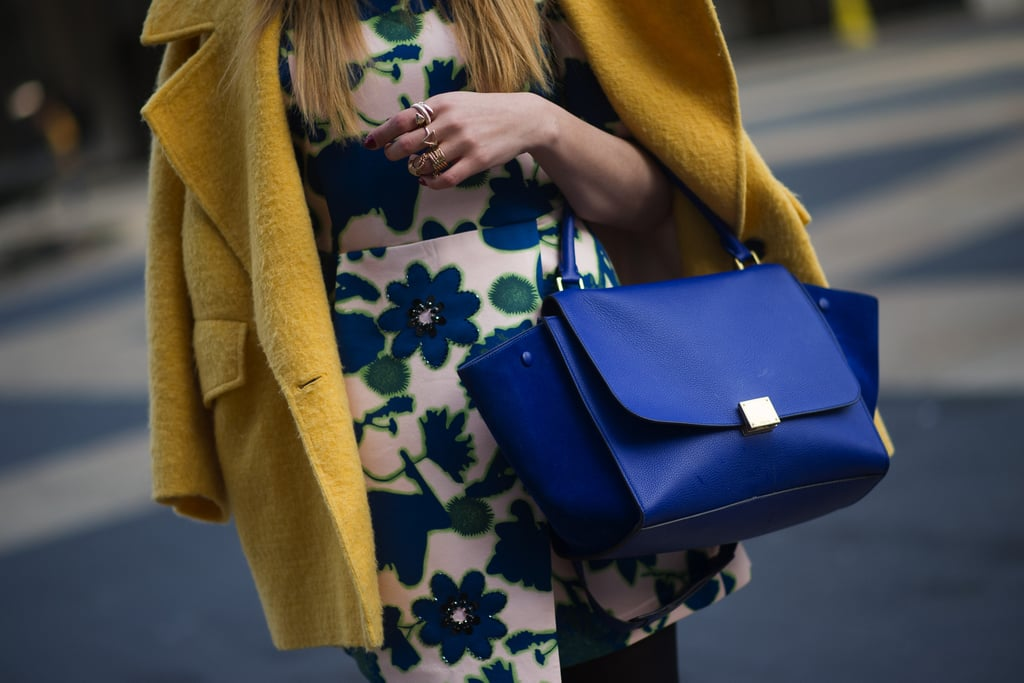 Is there anything that brightens up an outfit like a bold blue Céline bag?